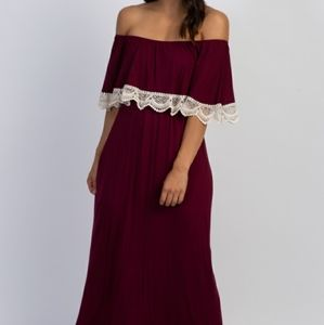 Pinkblush Burgundy Ruffle Crochet Trim Maxi Dress